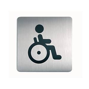 Plaque de porte Durable 4959-23, 150 x 150 mm, picto WC handicapés, arg./noir