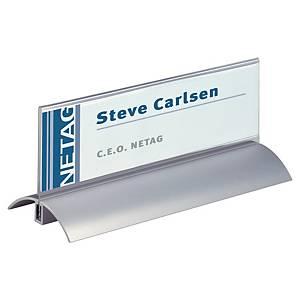 Tischnamenschild Durable 8202, glasklar Acryl/Aluminium, 210 x 61mm, 2 Stück