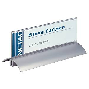 Durable 8202 aluminium table place name holder 210x61mm - pack of 2