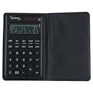 Taschenrechner Lyreco Nomad Wallet, 12-stellig, Solar-/Batteriebetrieb, schwarz