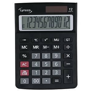 Tischrechner Lyreco Office Desk, 12-stellig, Solar-/Batteriebetrieb, schwarz