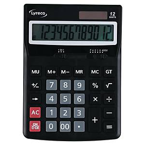Calculatrice de bureau Lyreco Office Premier, compacte, grise, 12 chiffres