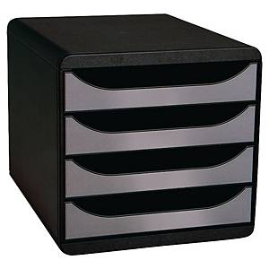 Module de classement Exacompta Big Box - 4 tiroirs - noir/gris