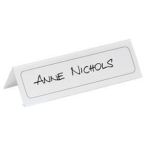 Pack de 10 placas identificativas com cavalete Durable - transparente