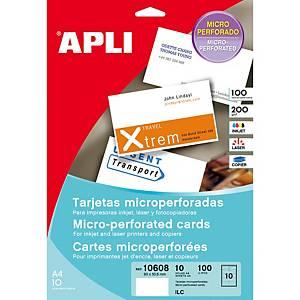 Caja de 100 tarjetas de visita Apli - 90 x 50,8 mm - 200 g