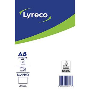 Briefblock Lyreco, A5, blanko, 70g, ungelocht, 50 Blatt