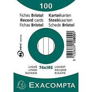 Cartes-fiches Exacompta A7 lignées blanc, emb. de 100 pces.