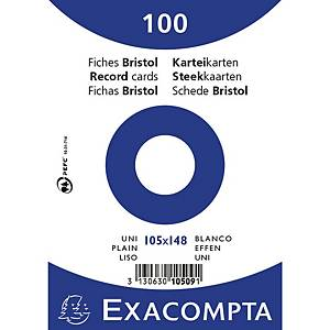 Cartes-fiches Exacompta A6 neutres, blanc, emb. de 100 pces.