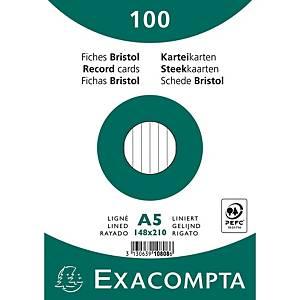 Cartes-fiches Exacompta A5 lignées blanc, emb. de 100 pces.