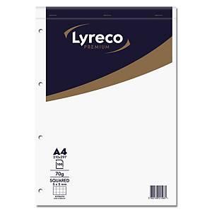 Lyreco Premium schrijfblok, A4, geruit 5 x 5 mm, bovenaan gelijmd, 100 vellen