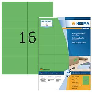 HERMA 4259 gekleurde etiketten A4 105x37 mm groen - doos van 1600