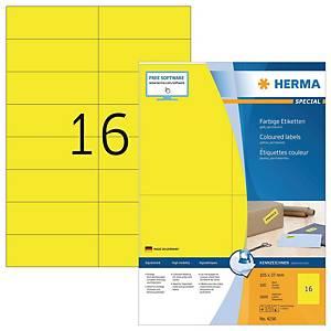 Herma 4256 gekleurde etiketten, geel, 105 x 37 mm, doos van 1600