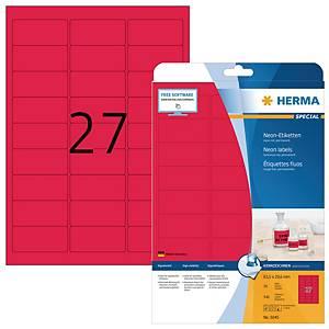 Étiquettes fluorescentes Herma 5045, rouges, 63,5 x 29,6 mm, les 540