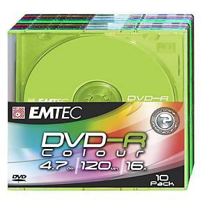 Emtec Dvd-r,  4.7 GB, slim color, pak van 10