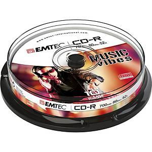 CD-R Emtec 700 Mo (80 min.), slim case, le paquet de 10