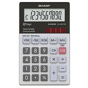 Taschenrechner Sharp EL-W211GGY, 10-stellige Anzeige, hellgrau