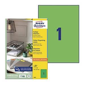 Trwałe etykiety kolorowe Avery Zweckform 210x297mm, zielone, 100 etykiet
