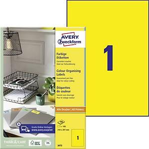 Etikety Avery, 3473, 210 x 297 mm, žluté, 100 etiket/balení