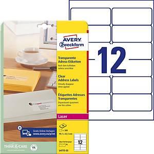 Transparent Etiquettes Avery Zweckform L4772-25 99,1x42,3 mm, emb. de 300 pièces