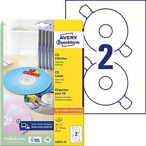 Etiketten Avery Zweckform L6043-100, CD/DVD, ClassicSize, weiss, Pk. à 200 Stk.