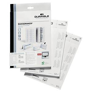 Pack 20 cartolinas placas identificativas Durable Badgemaker - 210 x 122 mm