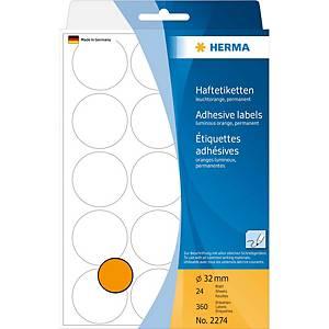 Vielzweck Etiketten HERMA 2274, 32 mm, rund, leuchtorange, Packung à 360 Stück