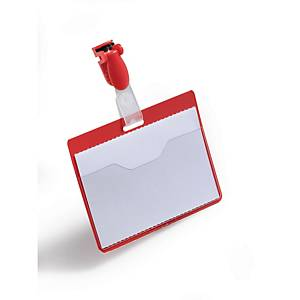 Namensschilder Durable 8106-03, 60x90 mm, mit Clip, quer, rot
