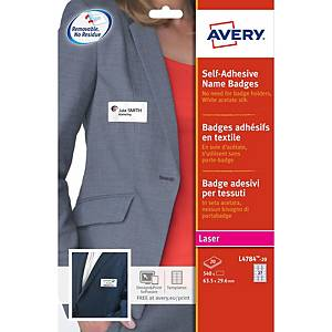 Badge textile autocollant Avery L4784-20, 63,5 x 29,6 mm, les 540 badges