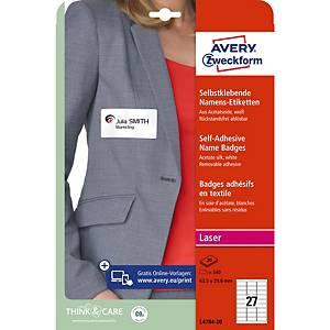 Étiquettes textiles Avery Zweckform L4784,63,5x29,6mm, soie/acétate, 540unit.