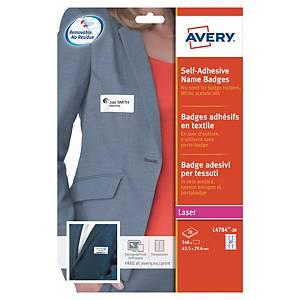 Badge adhésif Avery - L4784-20 - 6,3 x 2,96 cm - blanc - boîte de 540