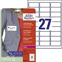 Avery Zweckform öntapadó névcímke, 63,5 x 29,6 mm, 27 címke/ív