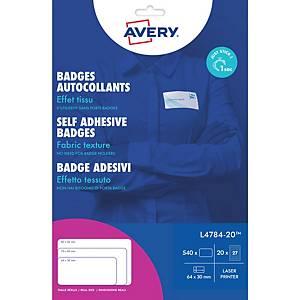 Avery L4784-20 zeflklevende textiel naambadges, 63,5 x 29,6 mm, doos van 540