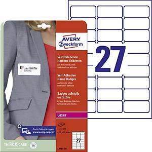 Samolepiace menovky Avery Zweckform, 63,5 x 29,6 mm, 27 etikiet/hárok
