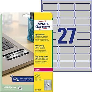 Étiquettes Avery Zweckform L6011,63,5 x 29,6mm, plaque signal., arg., 540unités