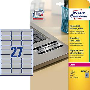 Avery L6011-20 Resistant Labels, 63.5 x 29.6 mm, 27 Labels Per Sheet,