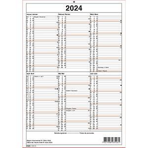Wandkalender Simplex 40320, mit Notizraum, 1/2 Jahr pro Seite, 2sprachig
