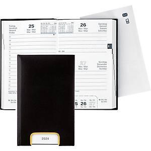 Taschenplaner Biella Disponent 807401, 1 Tag pro Seite, Kunstleder, schwarz