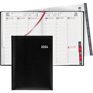 Agenda Biella Orario 809301, 1 Woche auf 2 Seiten, mit Registerschnitt, schwarz