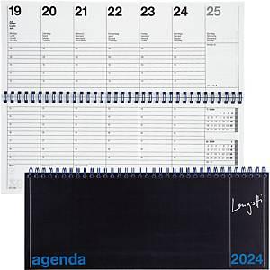 Tischplaner Biella Longatti 886271, 1 Woche auf 2 Seiten, Karton, schwarz