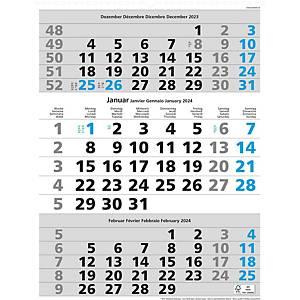 Monatskalender Simplex 970006, 3 Monate pro Seite, grau/blau