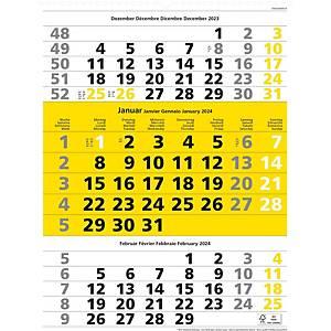 Monatskalender Simplex 970008, 3 Monate pro Seite, gelb/weiss