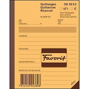 Durchschreibebuch Favorit A6, Quittung, 50x2 Blatt, blau/weiss
