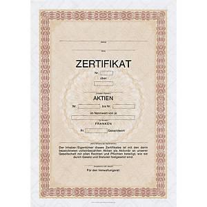 Aktienzertifikat A4, deutsch, Pack à 10 Blatt