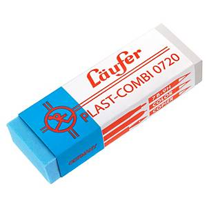 Radiergummi Läufer Plast-Combi 0720, 65x21mm, transparent/blau