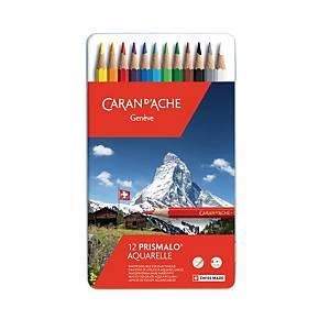 Crayons de couleur Caran d Ache Prismalo I, ens. 12 dans une boîte en métal