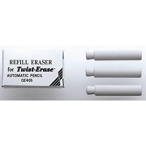 Viskelæder Pentel Twist Erase refill E10, hvid, pakke a 3 stk.