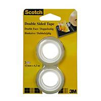 Klebeband Scotch 665, 12 mmx6,3 m, doppelseitig, Packung à 2 Rollen