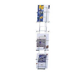 Porte-brochures BoOffice, pour A4 portrait, 6 compartiments, argenté
