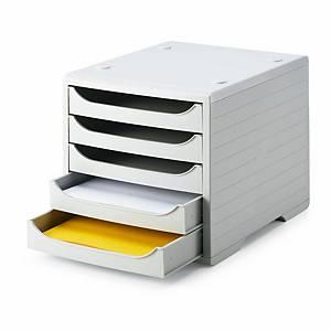 Schubladensystem Styrobox, 5 Schubladen, hellgrau/hellgrau