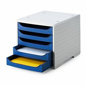 Schubladensystem Styrobox, 5 Schubladen, hellgrau/blau